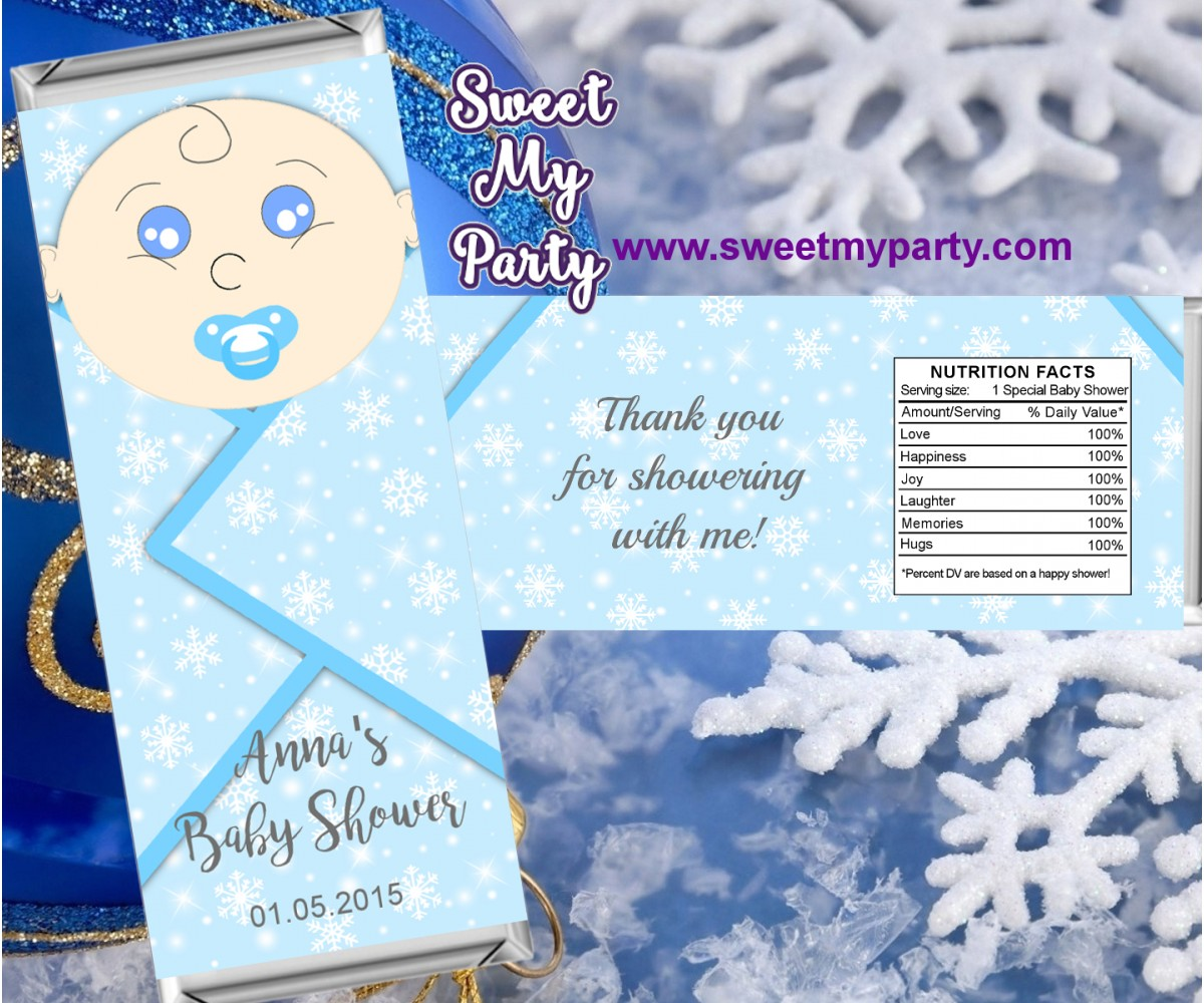 Winter Wonderland Baby Shower candy bar wrappers blue,(4)