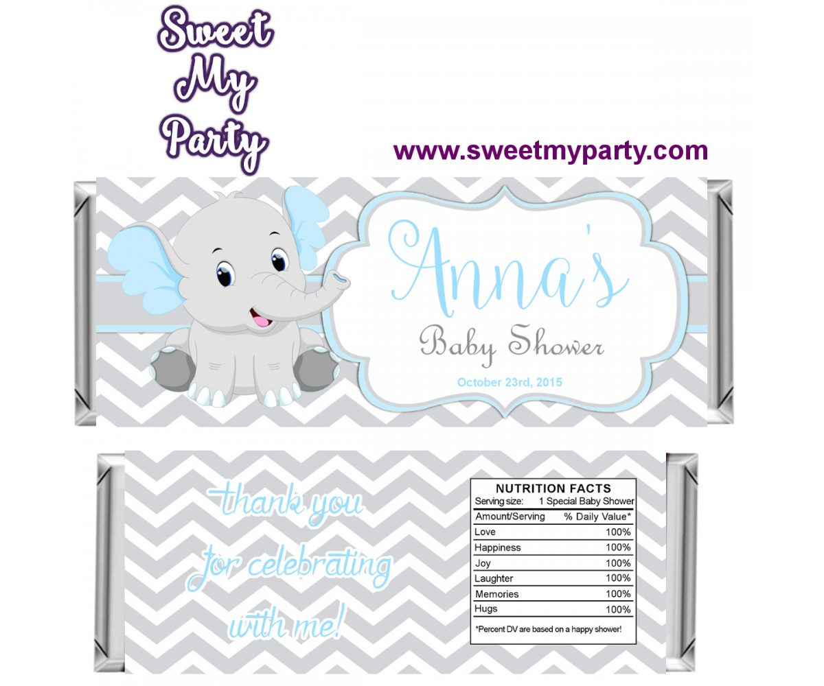 Blue and Grey Elephant Baby Shower candy bar wrappers,(7ebb)