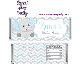 Blue and Grey Elephant Baby Shower candy bar wrappers,(8ebb)