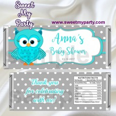 Owl Candy Bar Wrappers,Turquoise Owl Baby Shower Candy Bar Wrappers,(01obs)