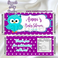 Owl Candy Bar Wrappers,Turquoise Purple Owl Baby Shower Candy Bar Wrappers,(02obs)