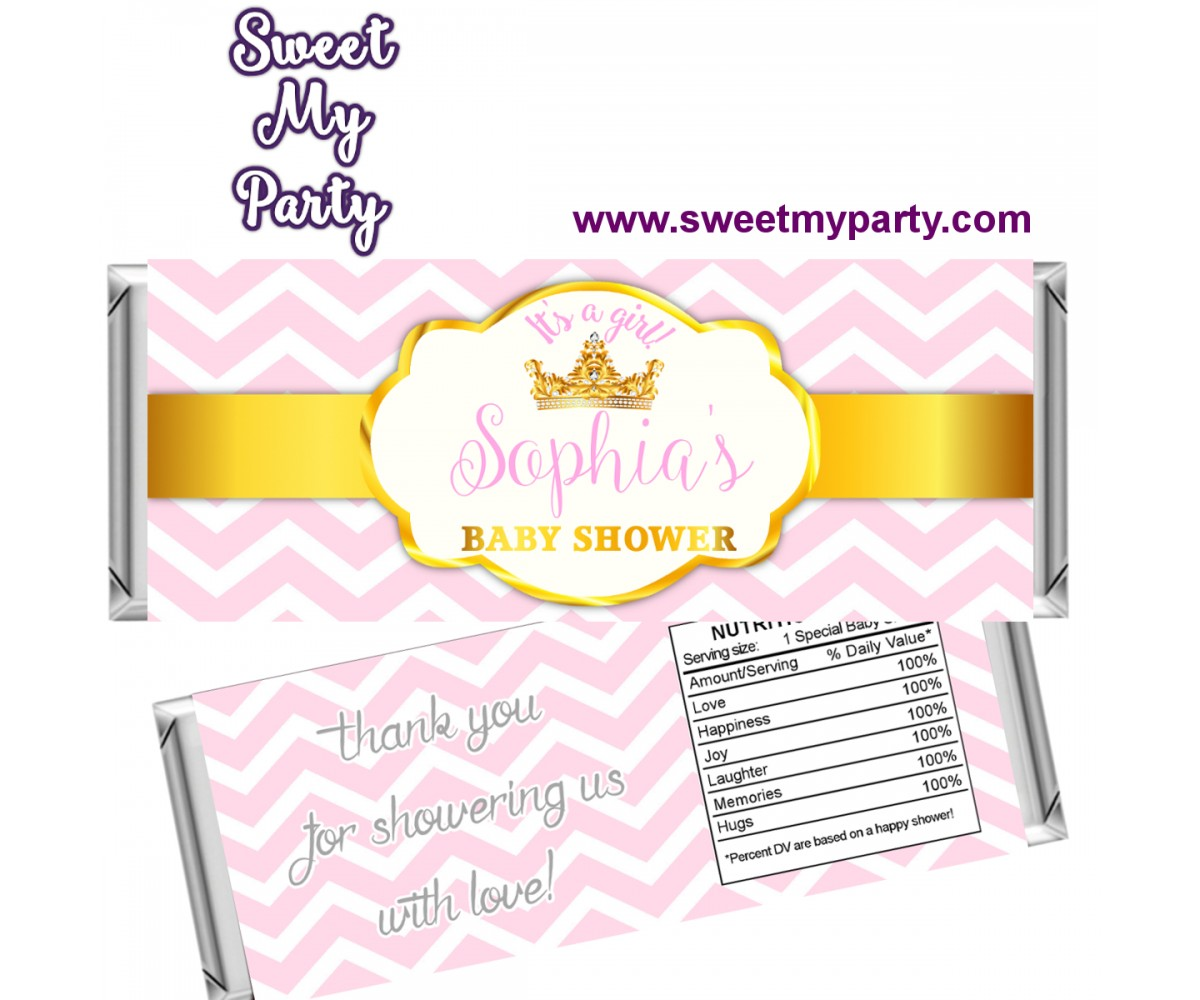 Pink and Gold Crown Baby Shower candy bar wrappers,(002bsp)