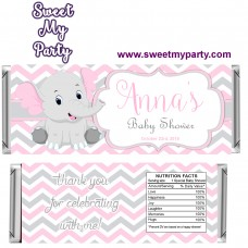 Pink and Grey Elephant Baby Shower candy bar wrappers,(10ebb)