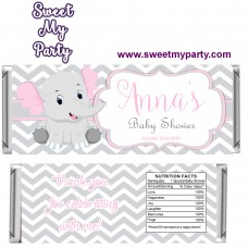 Pink and Grey Elephant Baby Shower candy bar wrappers,(9ebb)