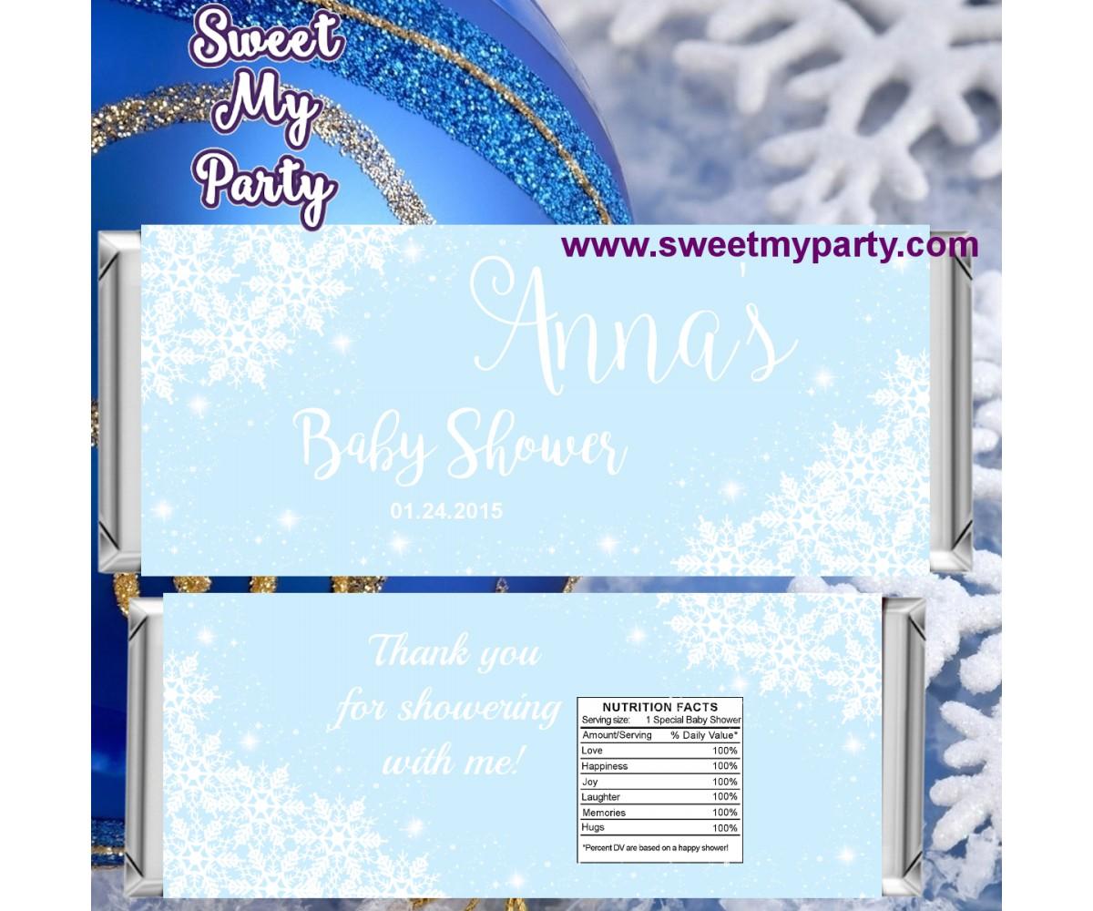 Winter Wonderland Baby Shower Blue Candy Bar Wrappers Blue 5