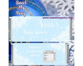 Winter Wonderland Baby Shower blue candy bar wrappers,(blue 5)