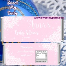 Winter Wonderland Baby Shower pink candy bar wrappers,(pink 5)