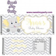 Yellow and grey elephant baby shower candy bar wrappers,(005ebs)