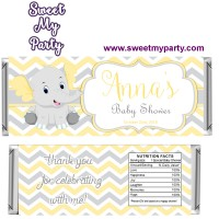 Yellow and grey elephant baby shower candy bar wrappers,(006ebs)