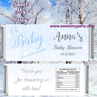 Winter Wonderland Baby Shower candy bar wrappers,(blue 4)