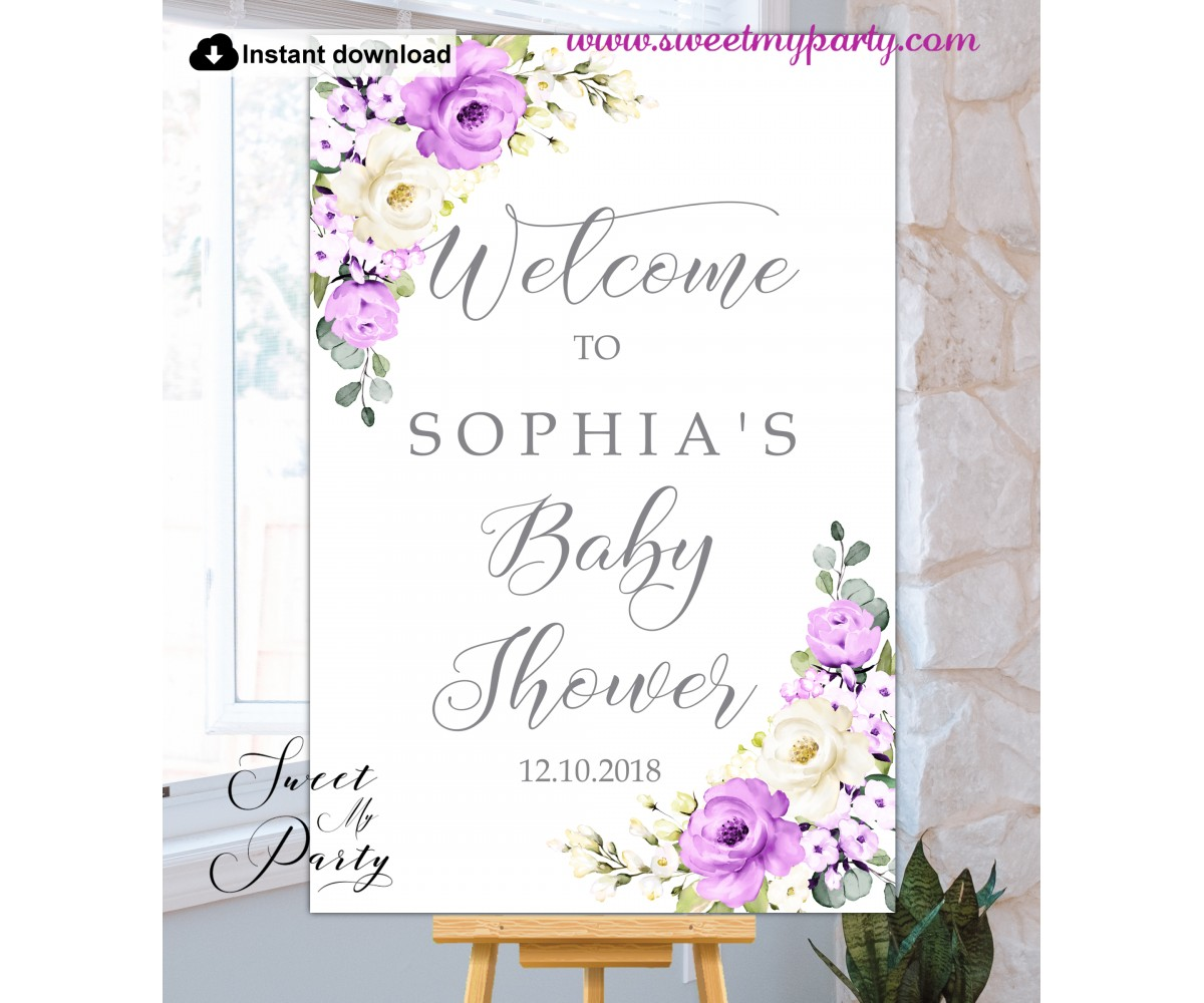 Purple Ivory Baby Shower Welcome Sign template,(144)