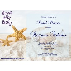 Seaside Bridal Shower invitation, Sea Shell Bridal Shower Invitation,Starfish Wedding Shower Invitation,(10)
