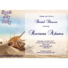 Seaside Bridal Shower invitation, Sea Shell Bridal Shower Invitation,Beach Wedding Shower Invitation,(11)