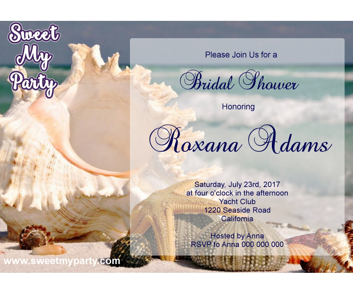 Seaside Bridal Shower invitation, Sea Shell Bridal Shower Invitation,Beach Wedding Shower Invitation,(12)