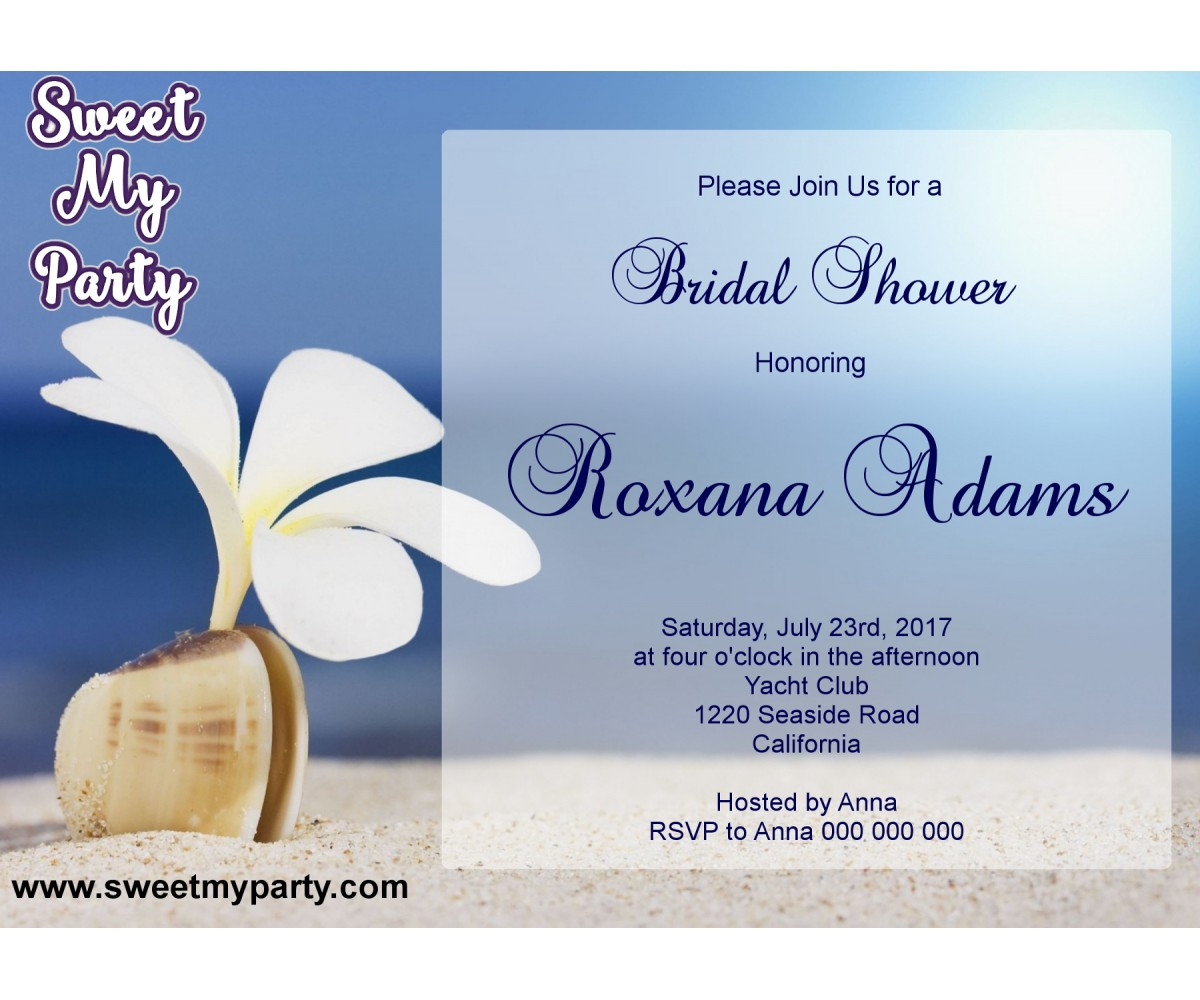 Seaside Bridal Shower invitation, Sea Shell Bridal Shower Invitation,Beach Wedding Shower Invitation,(13)