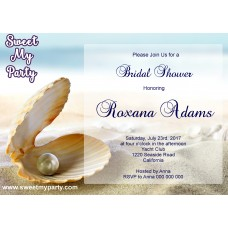 Seaside Bridal Shower invitation, Sea Shell Bridal Shower Invitation,Beach Wedding Shower Invitation,(8)