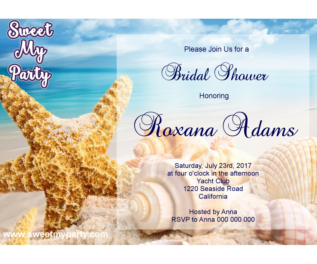 Seaside Bridal Shower invitation,Sea Shell Bridal Shower Invitation,Beach Wedding Shower Invitation,(9)