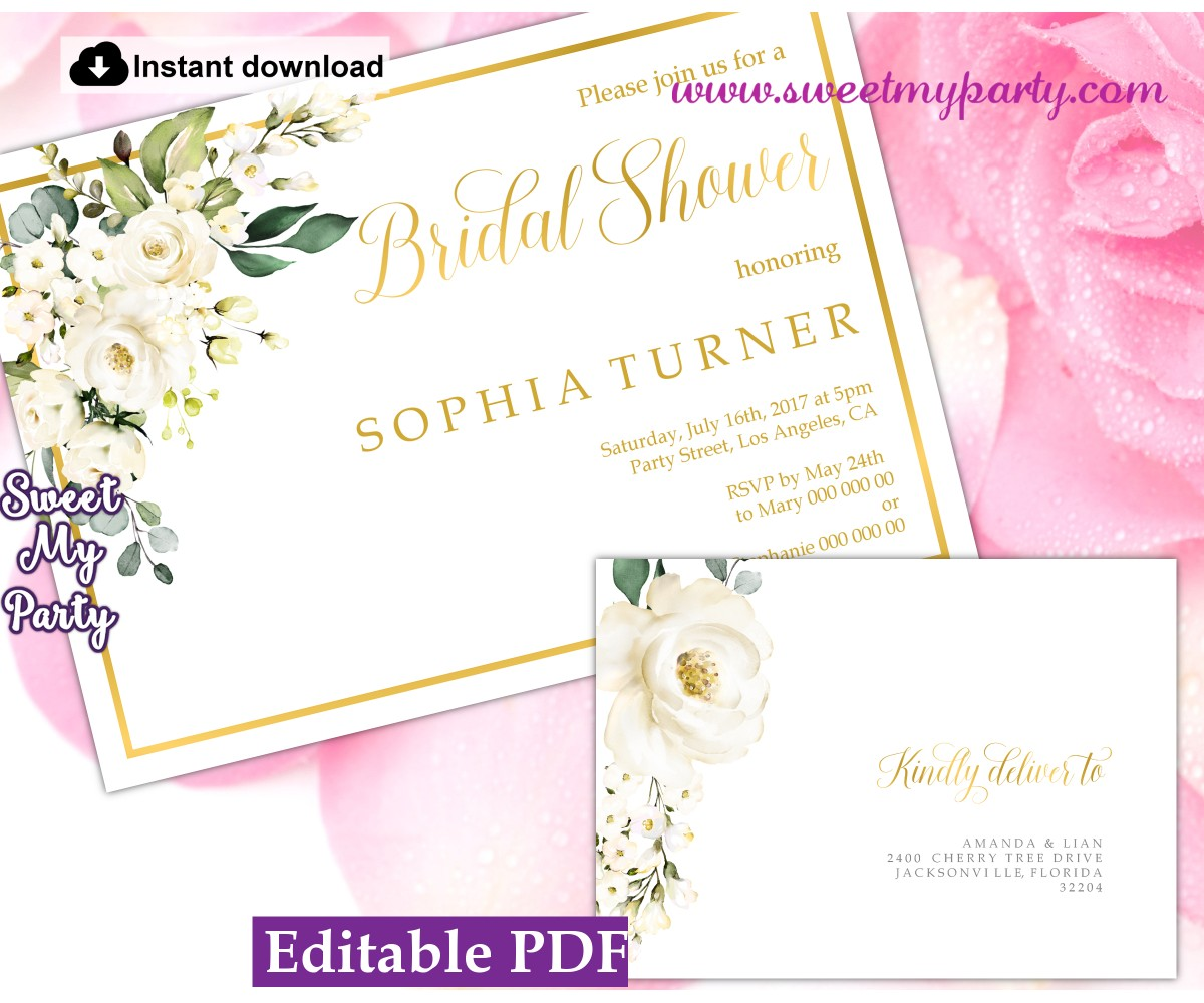 Ivory roses Bridal Shower invitation printable template, (123)
