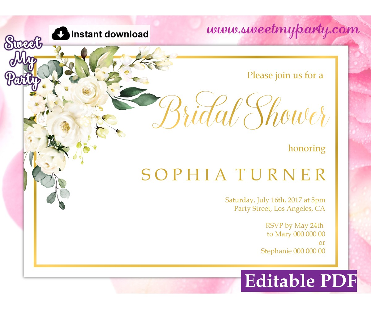 Ivory roses Bridal Shower invitation template, (123)