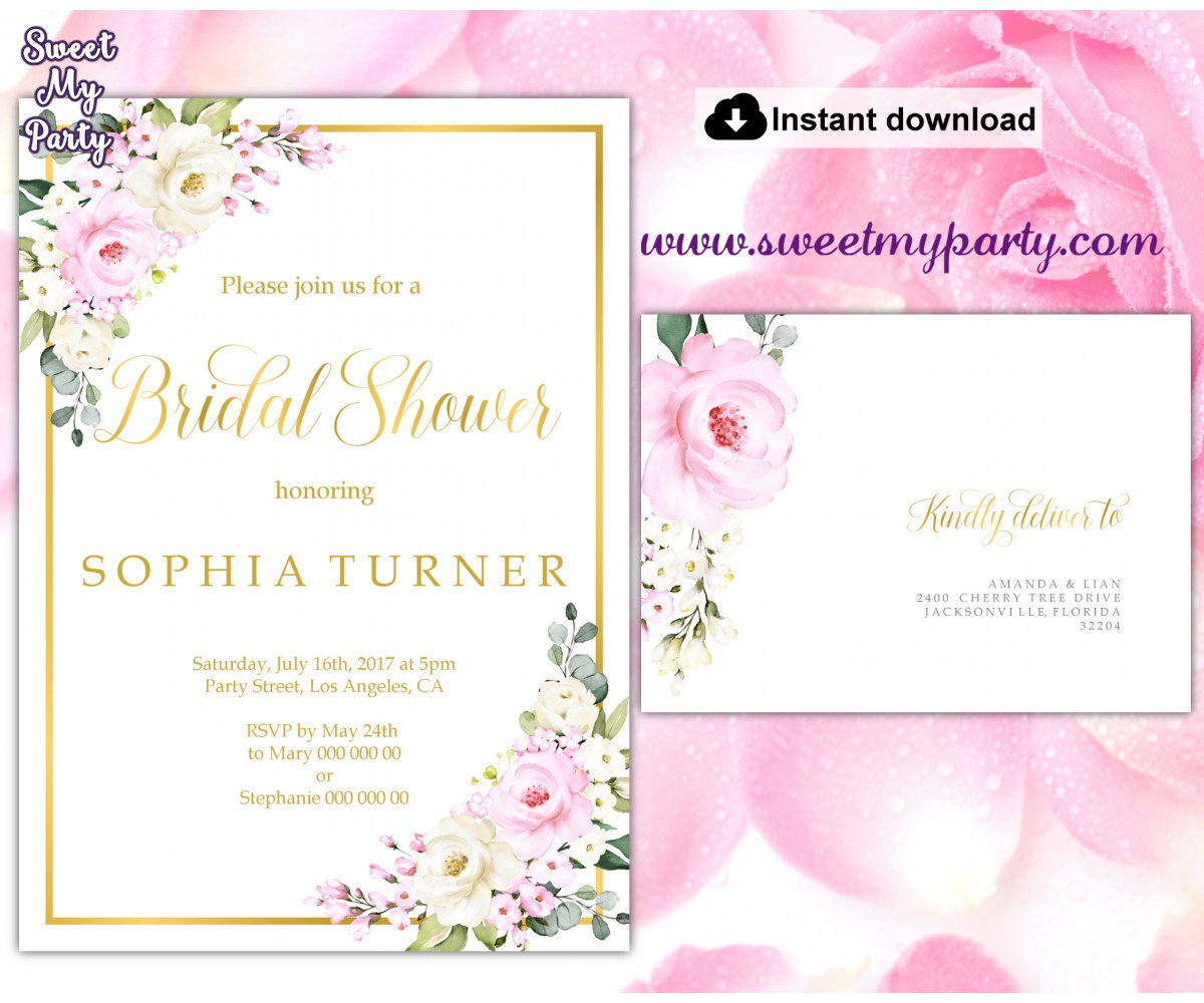Cream pink roses Bridal Shower invitation printable template, (135)