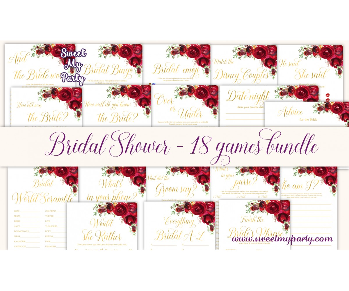 Red roses Bridal Shower games bundle,red flowers Bridal Shower games package,(016)