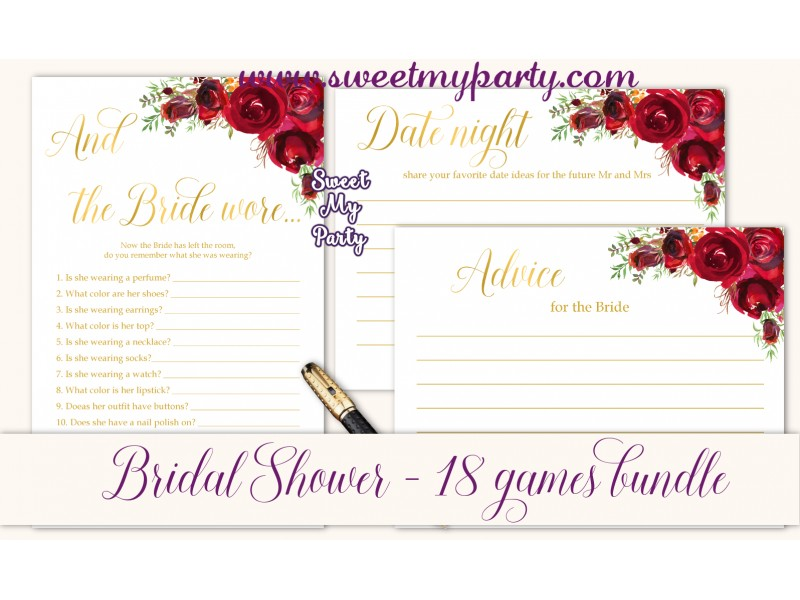 red roses bridal shower games bundlered flowers bridal shower games package016