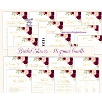 Burgundy Bridal shower games bundle, pink Bridal Shower games bundle,61c