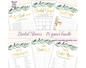 Greenery Bridal shower games bundle,Levaes Bridal Showr games bundle,(78bs)