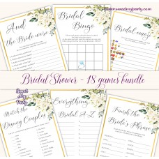 Ivory roses Bridal Shower games bundle,Cream flowers Bridal Shower games package,(123)