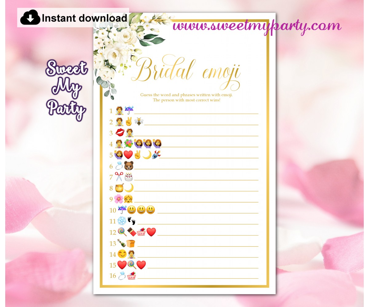 Ivory roses Bridal Shower Emoji Pictionary game,(123)