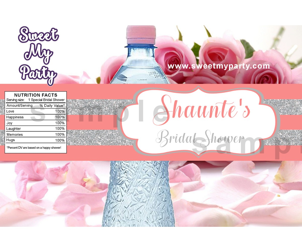 Silver Coral Bridal Shower Water Bottle Labels, Glitter Glossy Bridal Shower water bottle labels,(14)