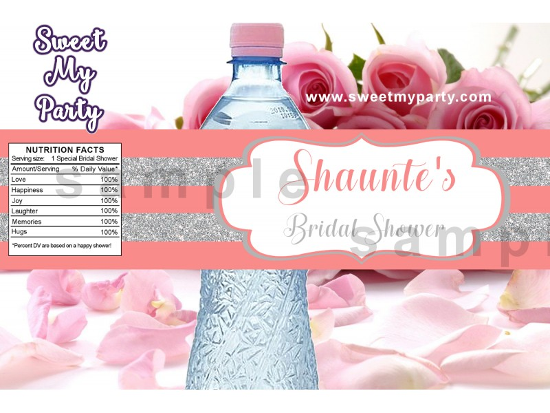 silver coral bridal shower water bottle labels glitter glossy bridal shower water bottle labels