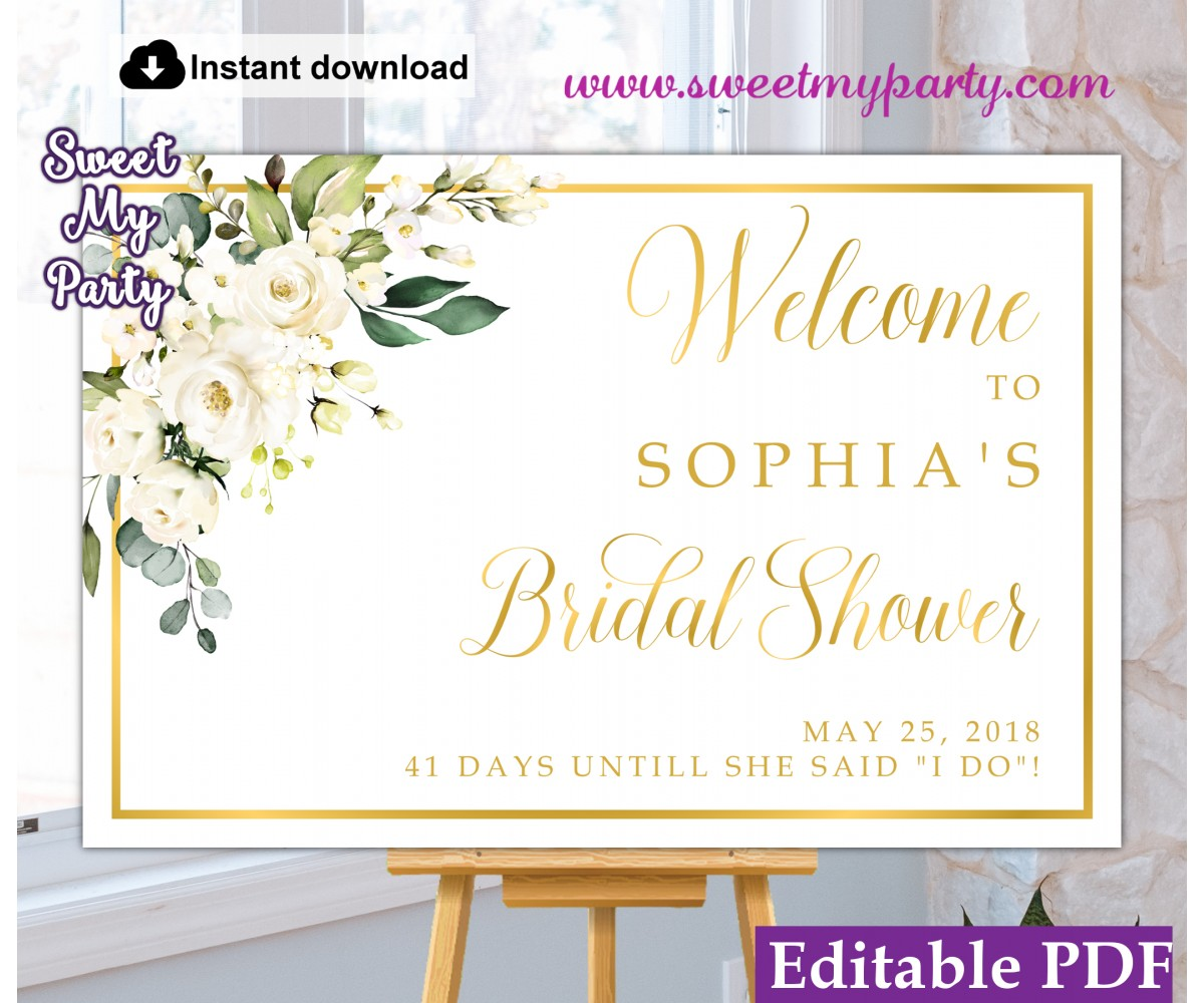 Ivory Roses Bridal Shower Welcome sign,Bridal Shower welcome sign,(123)