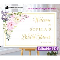 Cream pink roses Bridal Shower welcome sign template,Bridal Shower welcome sign,(135a)