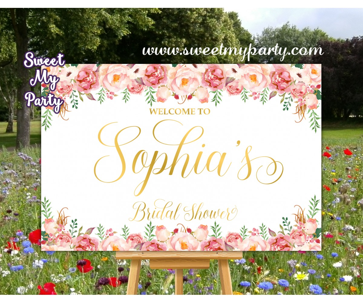 Blush Bridal Shower Welcome Sign,Blush Gold Bridal Shower Welcome sign,(31cbb)