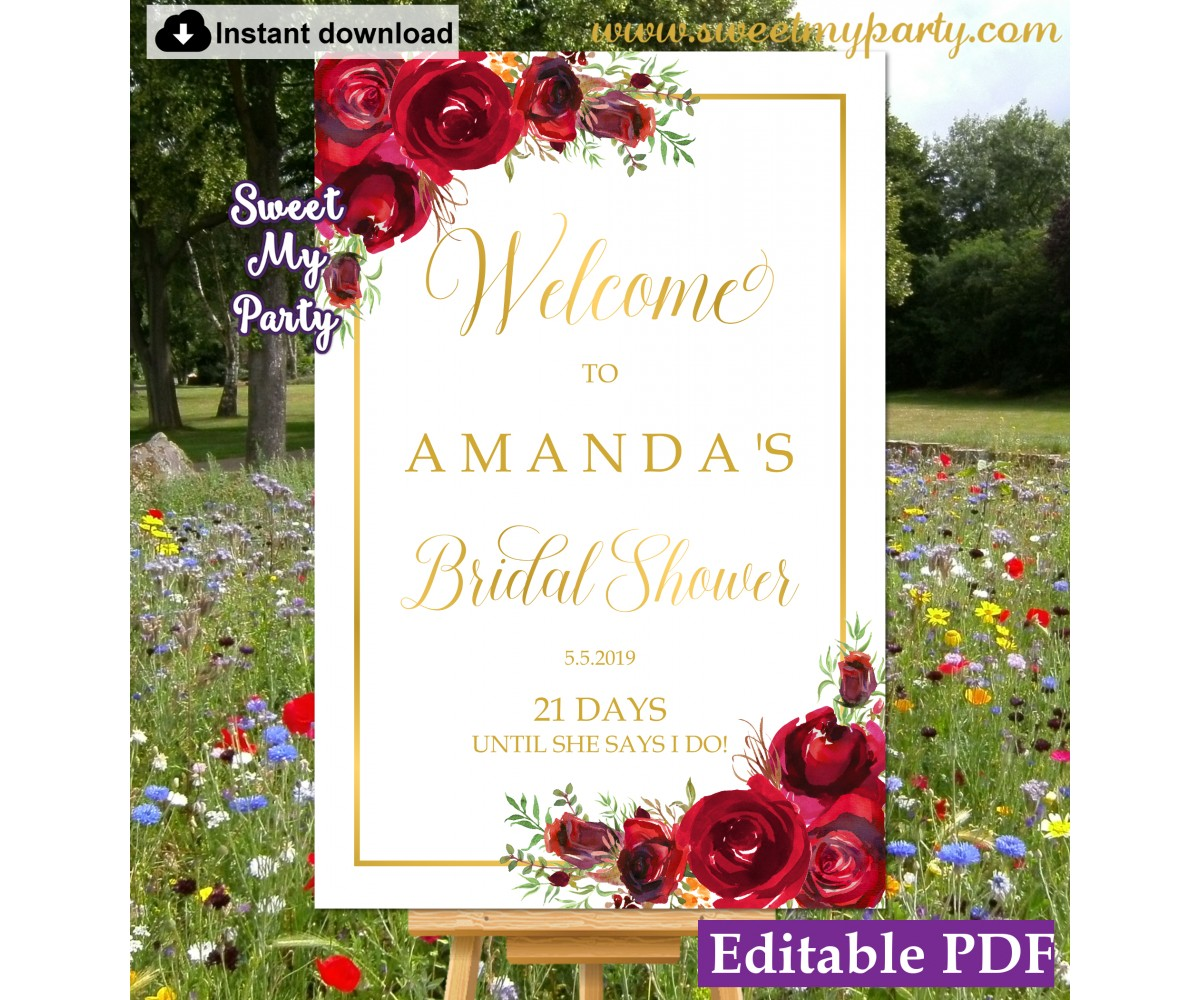 image about Welcome Sign Template named Crimson Roses Bridal Shower welcome signal template,Bridal Shower welcome ign,(16)