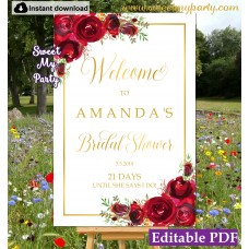 Red Roses Bridal Shower welcome sign template,Bridal Shower welcome ign,(16)