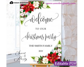 Christmas Party welcome sign template,Xmas Party welcome sign,(154)