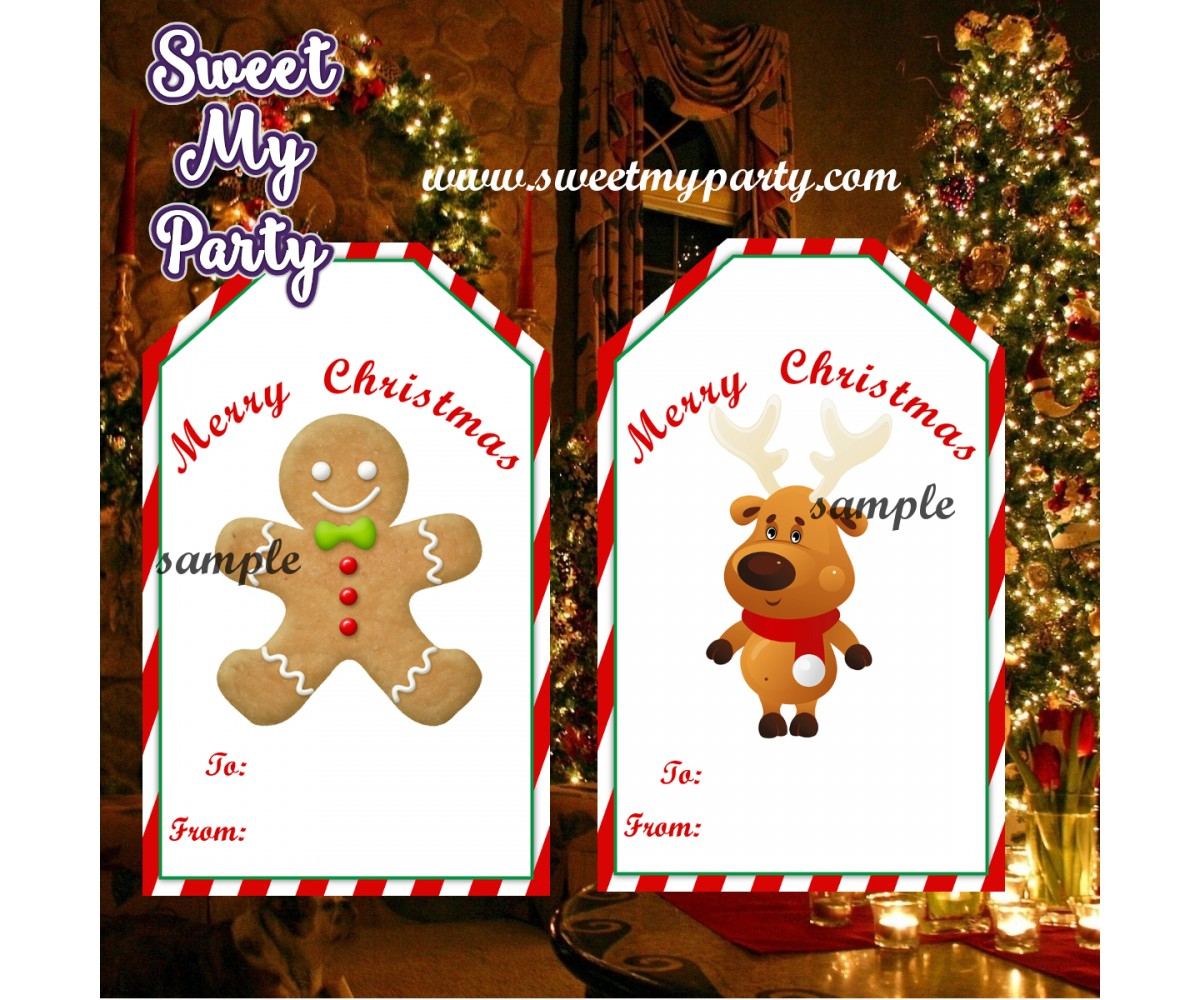 Christmas gift tags, Christmas gift stickers, Santa Claus gift tags,(3,4)
