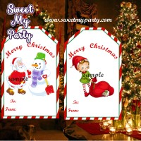 Christmas gift tags, Christmas gift stickers, Santa Claus gift tags,(5,6)