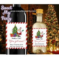 Christmas wine Labels,Mini Wine Labels,Christmas Mini Wine Labels,(004ch)