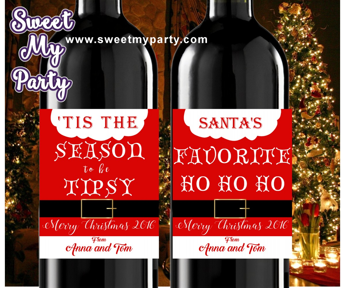 Christmas wine Labels,Mini Wine Labels,Christmas Mini Wine Labels,(set1ch)