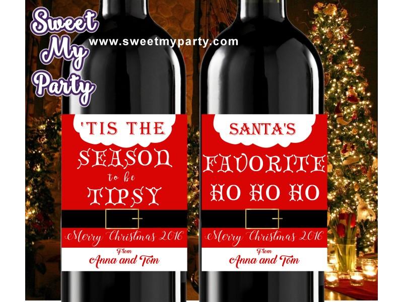 Christmas Wine Labels Christmas Wine Labels Gold Mini Wine Labels