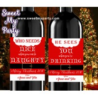 Christmas wine Labels,Mini Wine Labels,Christmas Mini Wine Labels,(set2ch)