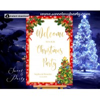 Christmas Party Welcome Sign with Bells,Holiday Party Welcome sign,(010ch)