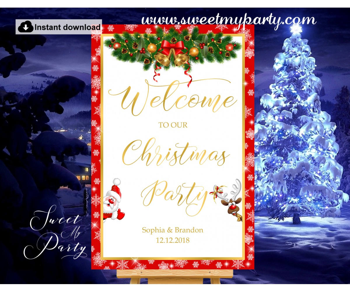 Christmas Party Welcome Sign,Holiday Party Welcome sign,(004ch)
