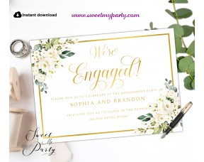 Cream Roses Engagement Invitation printable template, (123)