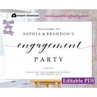 Modern Calligraphy Engagement Party welcome sign sign template (47)