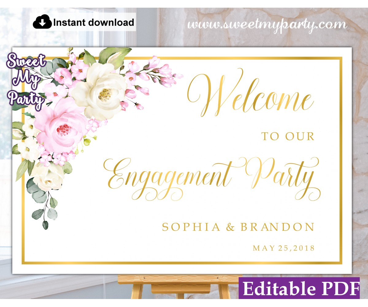 Cream pink roses Engagement Party welcome sign template,Engagement Party welcome sign,(135a)