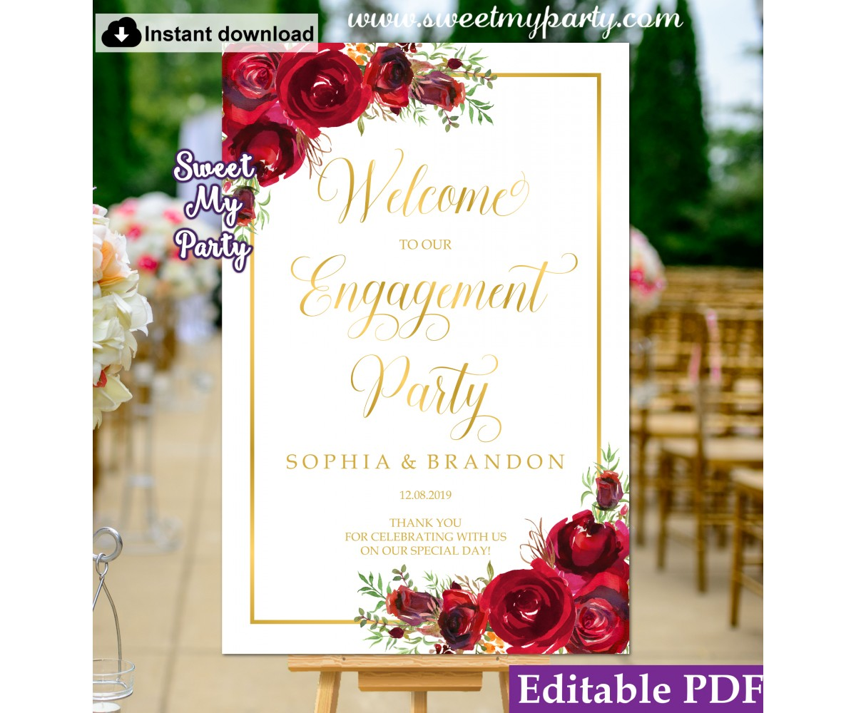 Red Roses Engagement Party Welcome sign template,Engagement Welcome sign,(16)